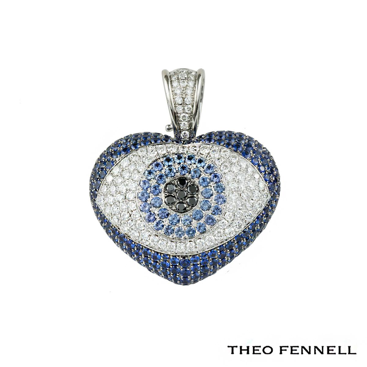 Theo Fennell 18k White Gold Sapphire and Diamond Evil Eye Art Pendant